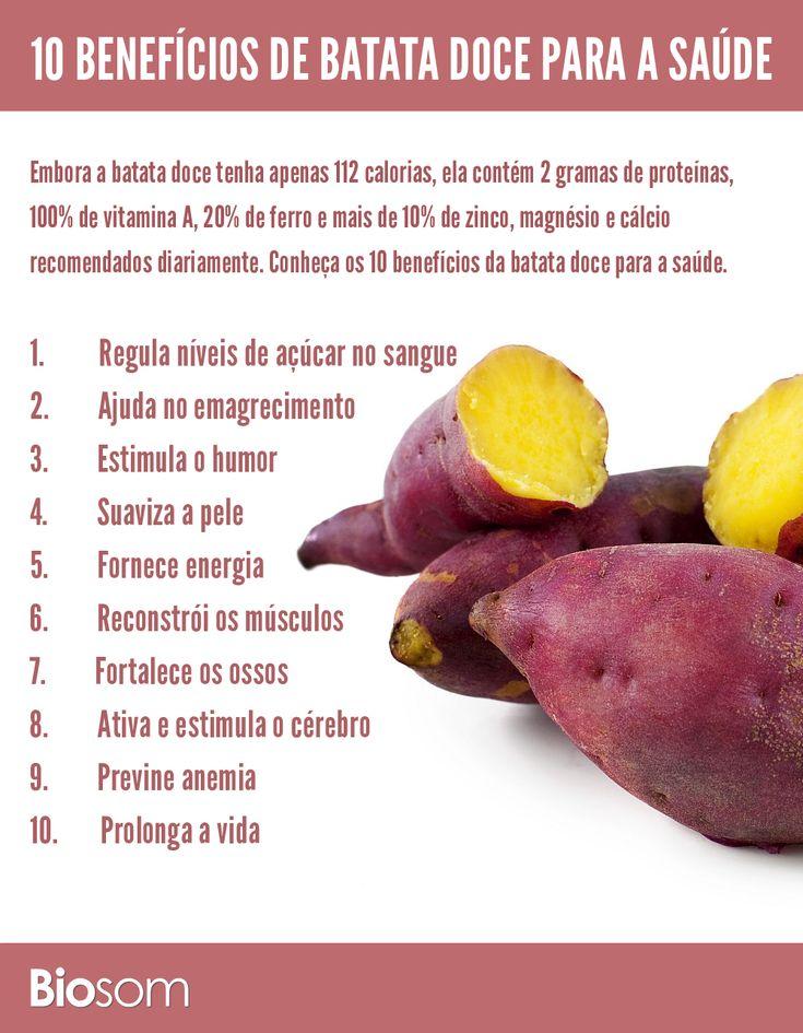 Clique na imagem e veja os 10 benefícios de batata doce para a saúde. #alimento #infográfico #batatadoce #alimentaçãosaudavel #saude #bemestar