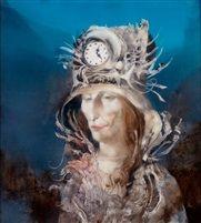 Túl hosszú.  Surrealistisches Porträt eines Mannes mit Uhrenmütze Szász Endre