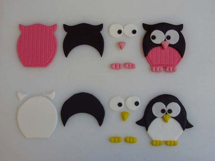 I love this picture. It shows you step by step how to make an owl and penguin. If you don't have the cutter, maybe you could print it and enlarge it to the size you need. cut it out and use as a template. Make a couple of these and place on cupcakes. Or make a big one and put on a cake...
