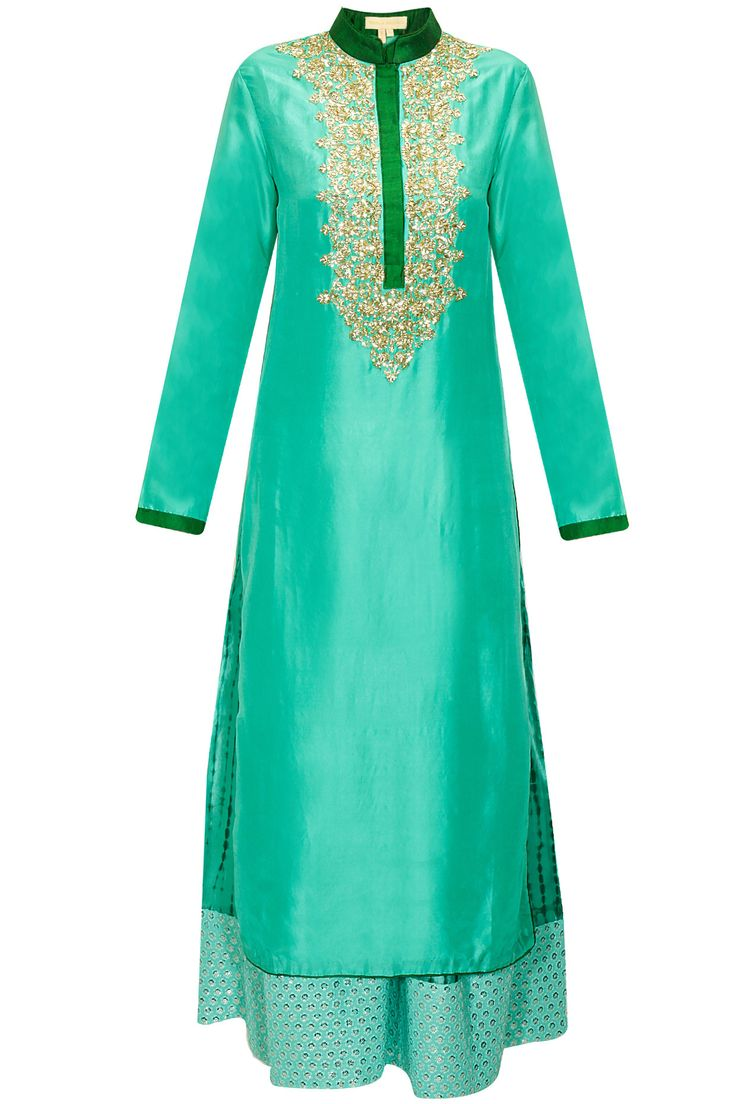 Aqua sequins embroidered kurta with shibori printed pants available only at Pernia's Pop-Up Shop.