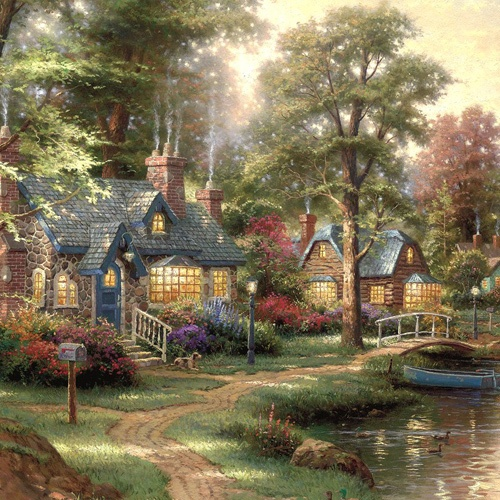 Hometown Lake by Thomas Kinkade | DecalGirl                                                                                                                                                                                 More