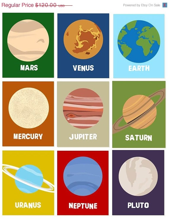 SALE Solar System Planets Wall Decor, Wall Art Prints , Ten Piece for Toddler, Nursery Room Art  8x10 prints, Outer space planets