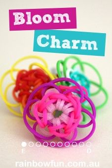 How To Make a Rainbow Loom Bloom Charm|Rainbow Loom Charm Designs|Rainbow Loom Band Instructions