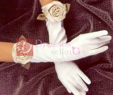 Short sleeve satin wedding glove with hand flower