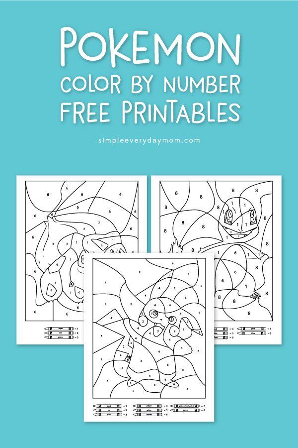 3 Free Pokemon Color By Number Printable Worksheets Kids