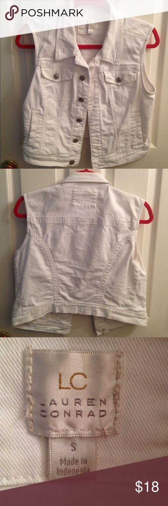 White Jean Vest A white jean jacket vest. LC Lauren Conrad Jackets & Coats Vests