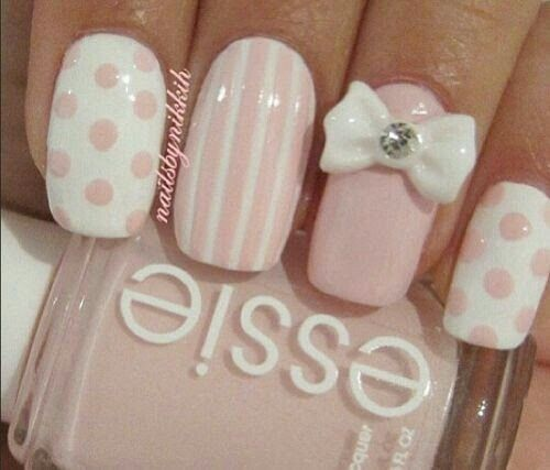 107 best pins polin images on pinterest nail art designs nail pink white nails with polka dots strips and studded bow prinsesfo Choice Image
