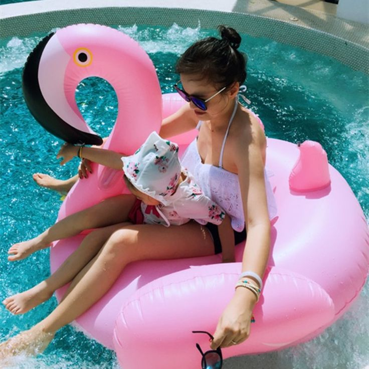 Pink Inflatable Flamingo Giant Swan Ride-On Pool Toy Float Swim Ring Holiday Bea…