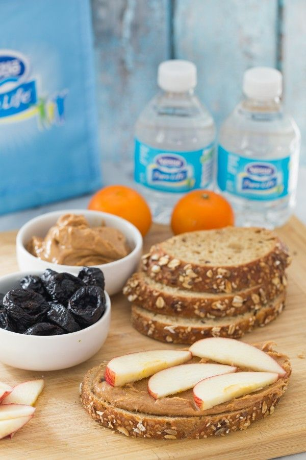 Almond butter apple sandwiches. I'm partnering with @NestlePureLifeUSA for The Ripple Effect. #ad