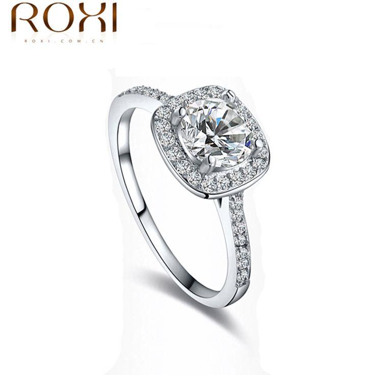 ROXI Marque Nouvelle Arrivée Délicat Cristal Anneaux De Luxe Platine Plaqué Vintage Anneaux De Mariage Pour Les Femmes Anel 101009438