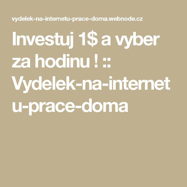 Investuj 1$ a vyber za hodinu ! :: Vydelek-na-internetu-prace-doma