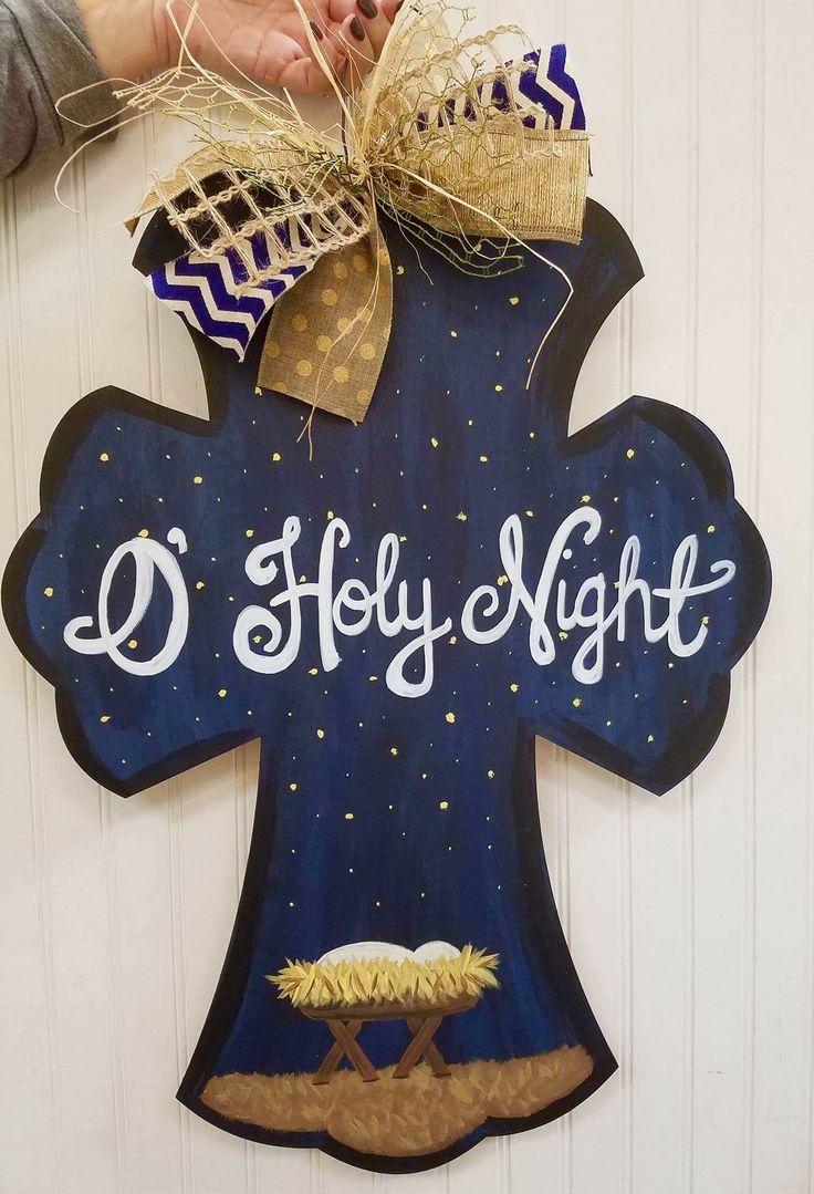 O holy night cross Christmas manger nativity door hanger ...