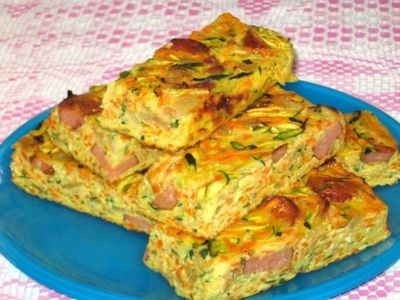 Zucchini, Carrot and Kransky Slice recipe