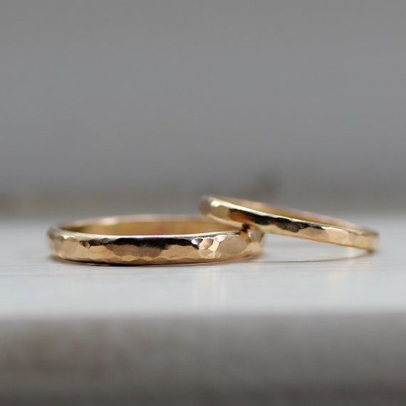Simple Wedding Band Set Rustic Gold Wedding Bands for von tinahdee