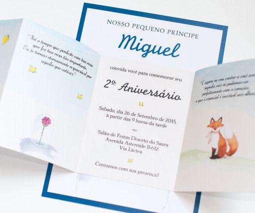 """Convite Digital Personalizado para festa """"O Pequeno Príncipe"""""""