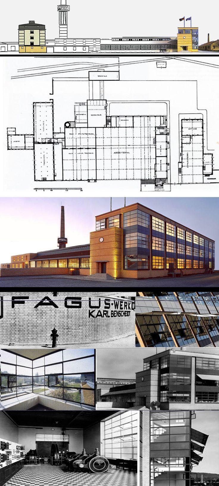 Здание обувной фабрики «Фагус» -  «Fagus-Werke». Альфельд-на-Лайне, 1911 - 13. Арх. В. Гропиус и  А. Майер