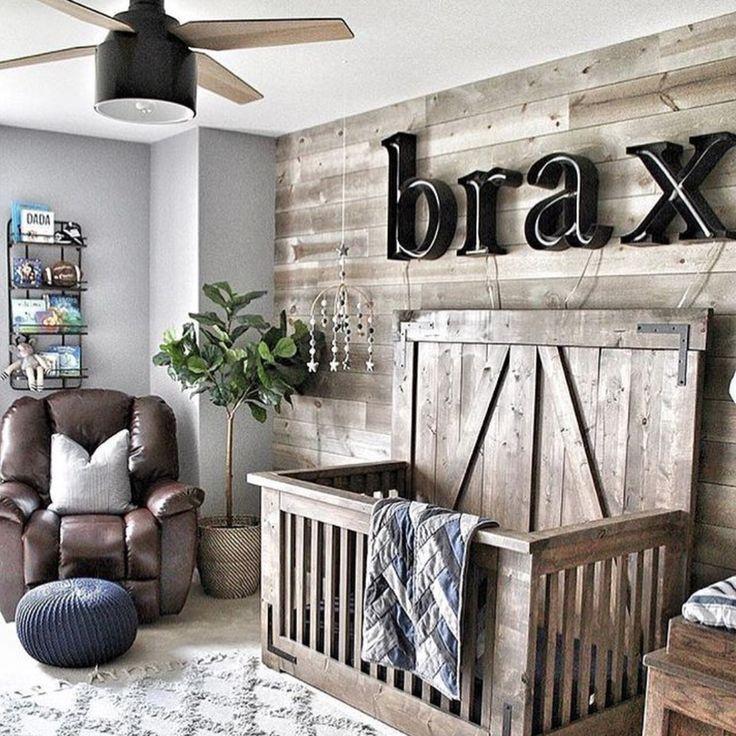 Rustikale Baby Kindertagesstatte Mit Plankenwand Pin858 Baby Room Decor Nursery Room Boy Nursery Baby Room
