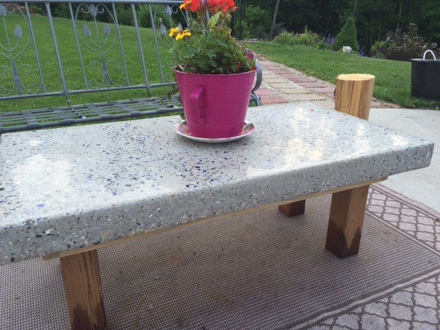 Back Yard Coffee Table. Top Made of Concrete With Crushed Wine Bottles.