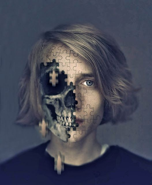 this picture is surreal because it is showing a teen loosing pieces from his face. This shows that he is either dying or falling apart. I choose this picture because it is the most satisfying and surreal one i could find. - Jorge Figueroa Block D.