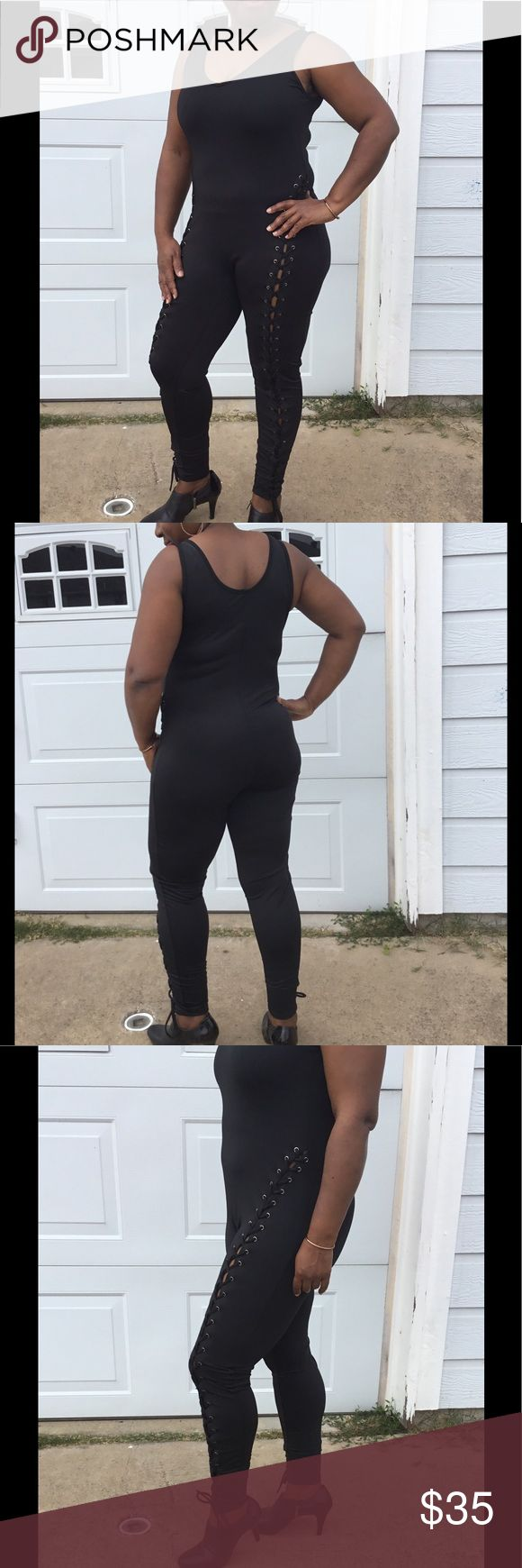 Black Grommet Jumpsuit This black jumpsuit can be dressed up or down. Put on a Choker, jacket and heels for a completed outfit. (This jumpsuit comes in black only. The purple is shown only to see how it fits.) Pants Jumpsuits & Rompers
