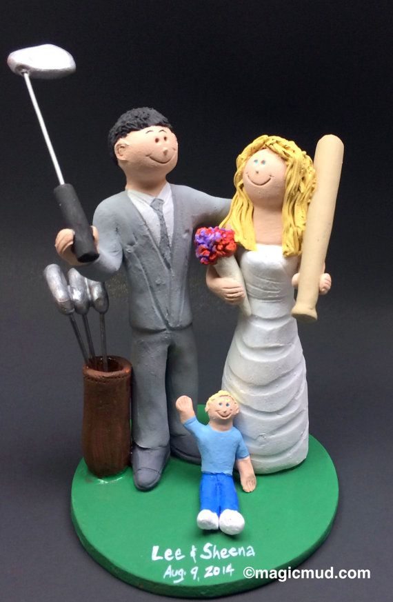 Golf Groom Marries Baseball Bride Wedding Cake Topper - Golfing Wedding Cake Topper, Baseball Bride with Bat Wedding Cake Topper    This photographed listing is but an example of what we will create for you....simply email or call toll free with your own info and pictures of yourselves, and we will sculpt for you a treasured memory from your wedding!    $235   #magicmud   1 800 231 9814   www.magicmud.com