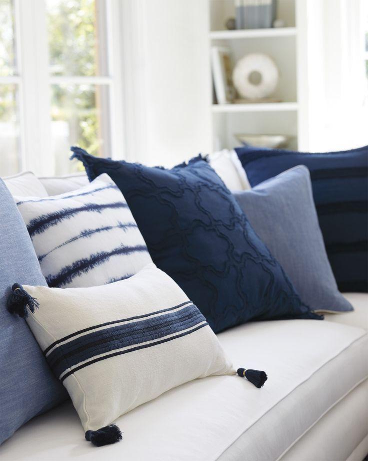 Addie Stripe Tassel Pillow Cover Throw Pillows Living Room Blue Pillows Blue Throw Pillows Blue throw pillows for couch