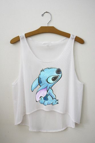 You are looking at our very popular Stitch Inspired Crop Top. The art was inspired and drawn by a customer.