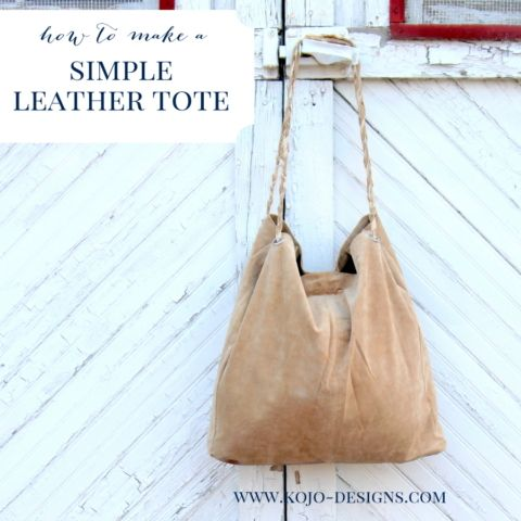 how to make a slouchy leather tote (if you can find a hand me down leather skirt- this project is nearly free!)