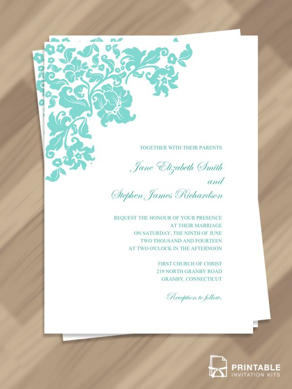 Free PDF Download Pretty Vintage Border Wedding Invitation Template