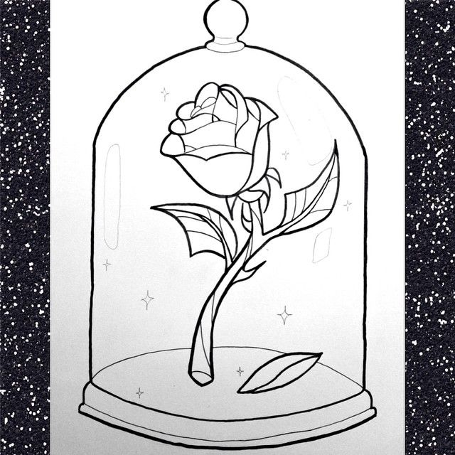 Beauty And The Beast Rose Outline