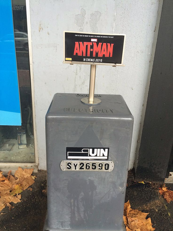 Ant-Man Billboards. Tiny billboards advertising the upcoming Marvel film Ant-Man are popping up in cities around Australia.