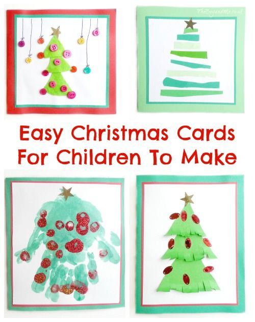 Four Easy Christmas Cards For Children To Make