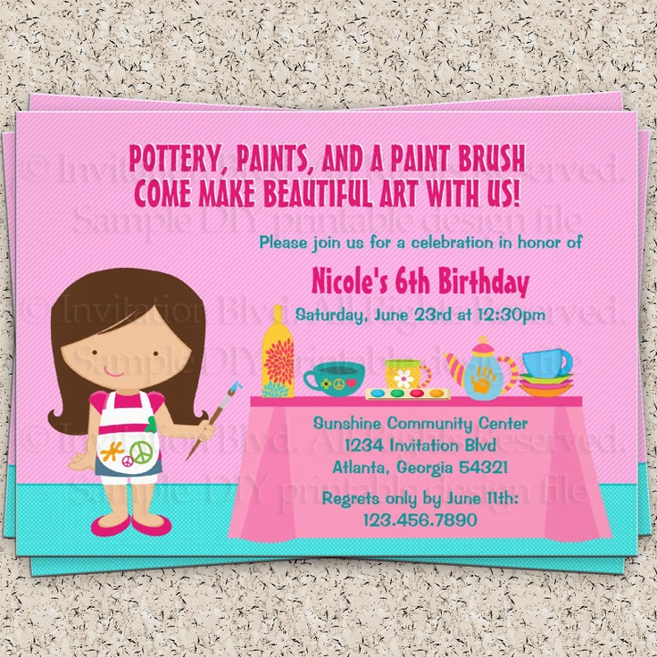 Pottery Painting Birthday Party Invitations with good invitation template