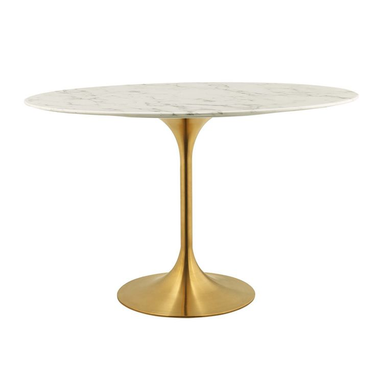 Lippa 54 Round Dining Table In Gold White Lexmod Round Dining