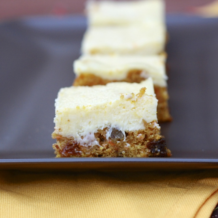 Carrot Cake Cheesecake Bars - maybe adapt my favorite carrot cake recipe to use as the base