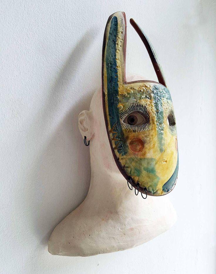 The Gatherer-original ceramic art-mask-tribal-ceramic sculpture by jolucksted on Etsy
