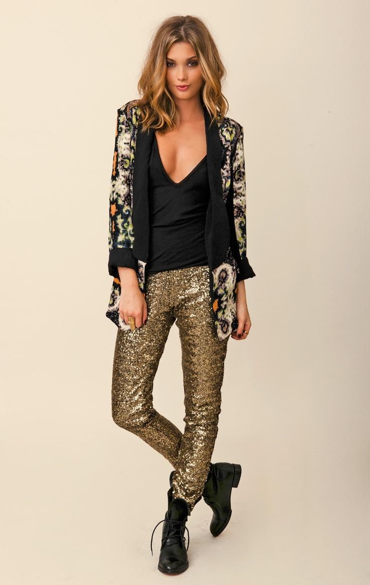 Grunge chic - sequin pants, biker boots & eclectic print blazer.