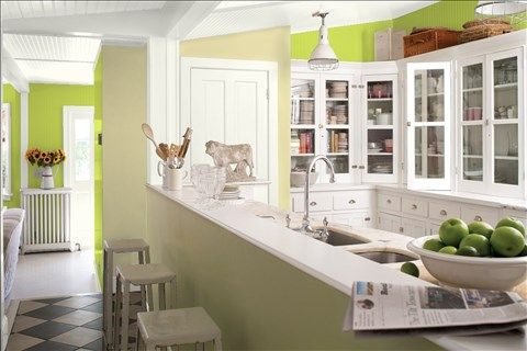 Look at the paint color combination I created with Benjamin Moore. Via @benjamin_moore. Wall: Limeade CSP-865; Accent Wall: Beacon Hill Damask HC-2; Trim: White Dove OC-17; Ceiling: White Dove OC-17.