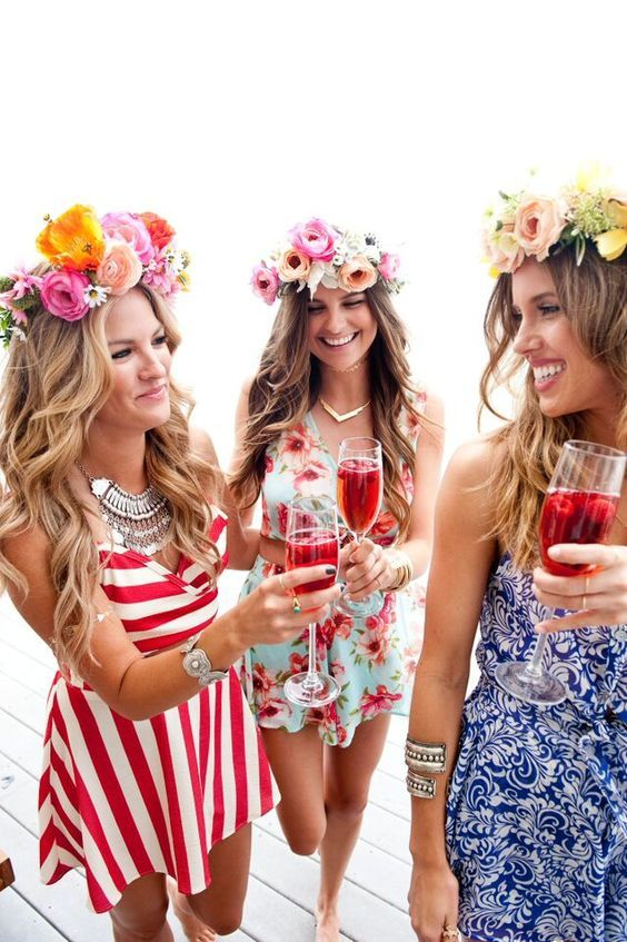 flower-crown-bachelorette-party-girls-in-sun-dresses http://itgirlweddings.com/11-essentials-for-your-bachelorette-party-beach-weekend/