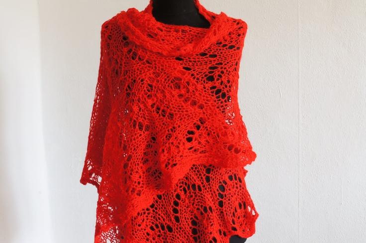 Lacy Shawl, Women Wrap, Shrug, Scarlet Red - Free Shipping Etsy. $85.00, via Etsy.