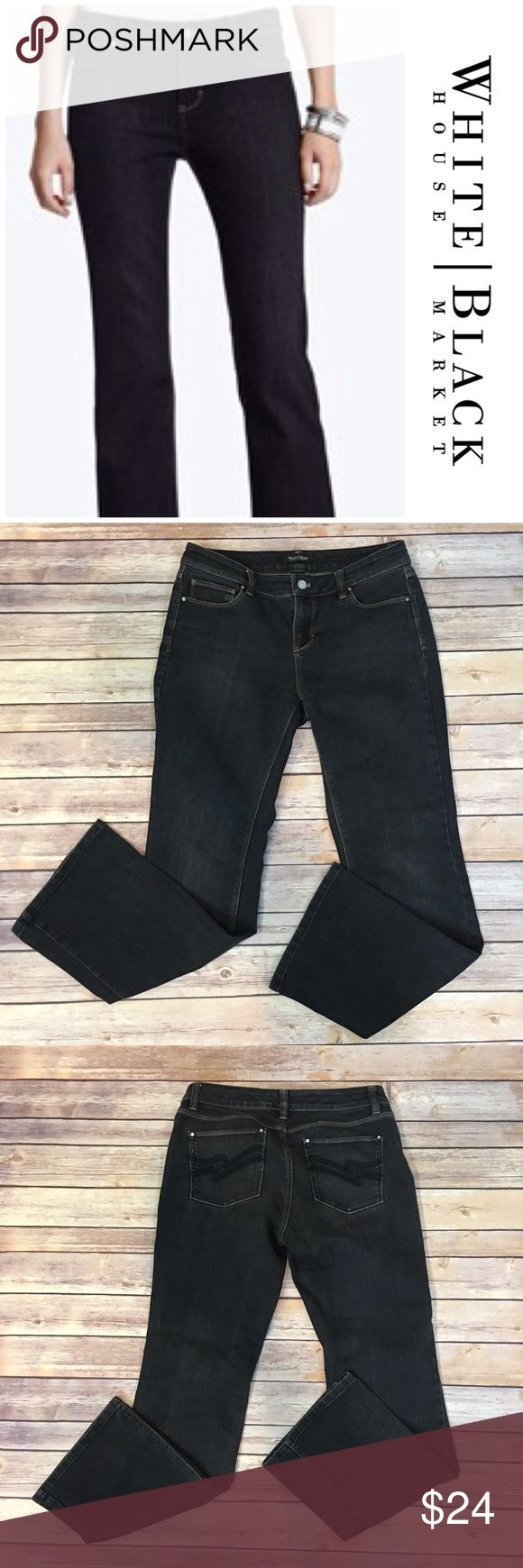 "WHBM Black Bootcut Jeans WHBM Black Bootcut Jeans. Size 6 Short. Made of 77% cotton/ 23% elastane. Front rise 9""/ back 11"". Inseam 29"" White House Black Market Jeans Boot Cut"
