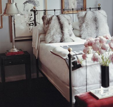 Vintage glam | ryan korban: Decor, Guest Room, Interior, Idea, Dream, Fur Pillows, Bed Frame, Bedrooms
