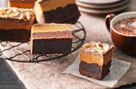 Peanut butter slice    Lashings and layers of peanut butter and chocolate make this treat a clear-cut winner.