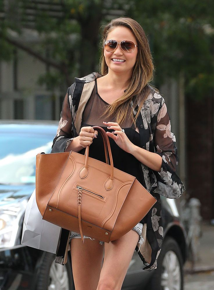 celine brown leather handbag luggage