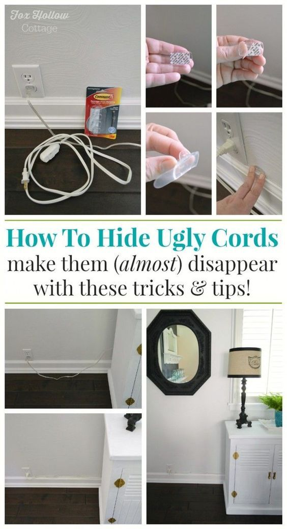How To Hide Unsightly Lamp Cords using Command™ Products - foxhollowcottage.com - #DamageFreeDIY #sp #organize
