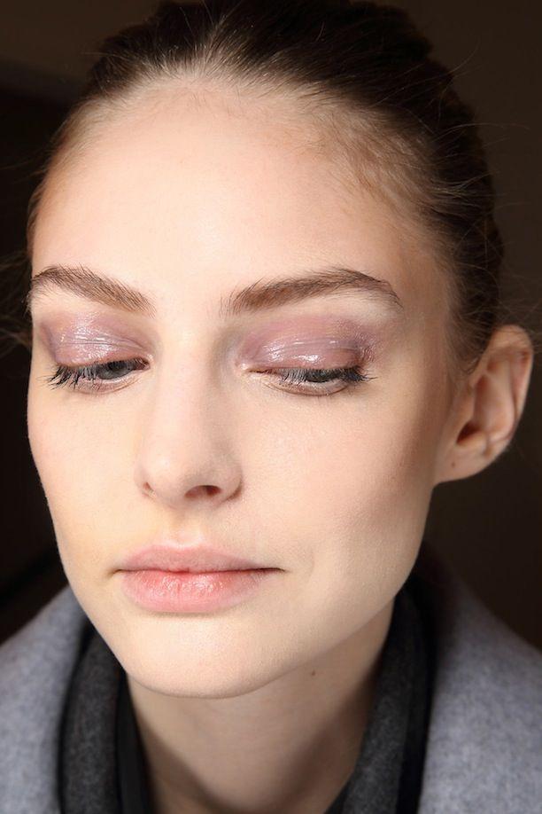 Groomed eyebrows, glossy mauve eyeshadow, sleek mascara and natural lips this season at Diane von Furstenberg