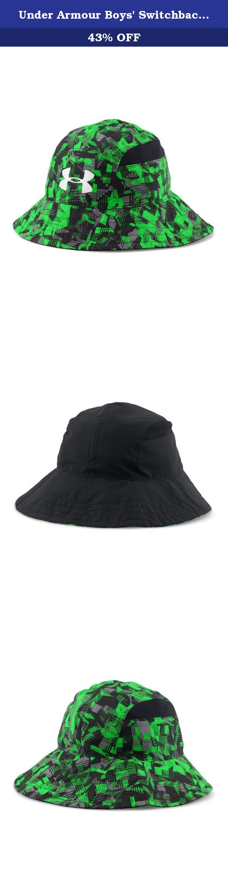 Under Armour Boys' Switchback Bucket Hat, Black (003), One Size. Reversible 2-in-1 design with a traditional bucket fit. Pieced-in mesh for ventilation.