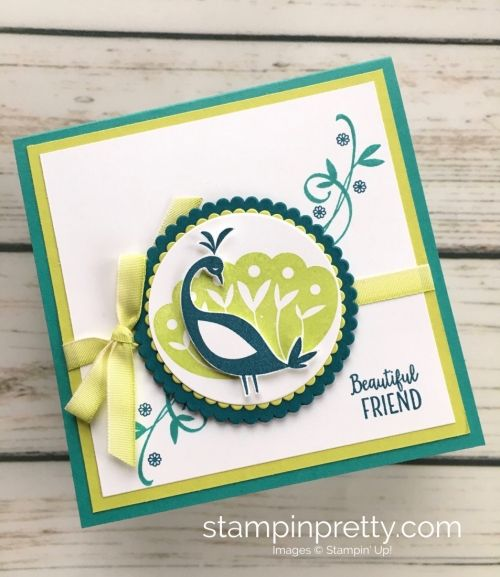 Learn how to create this simple friend card using Stampin Up Beautiful Peacock Stamp Set - Mary Fish StampinUp Card Ideas