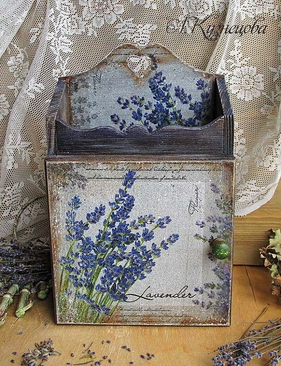 Vintage Key Box Lavender, wall key holder Wooden, vintage slyle home decor от DecoDvorik