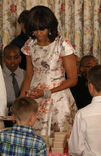 Michelle Obama's First Lady Style: A better look at Michelle Obama's ultrapretty Prabal Gurung Resort '13 dress, complete with a stack of bangles and drop earrings.